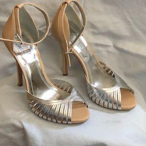 BCBG Silver and Beige Heels